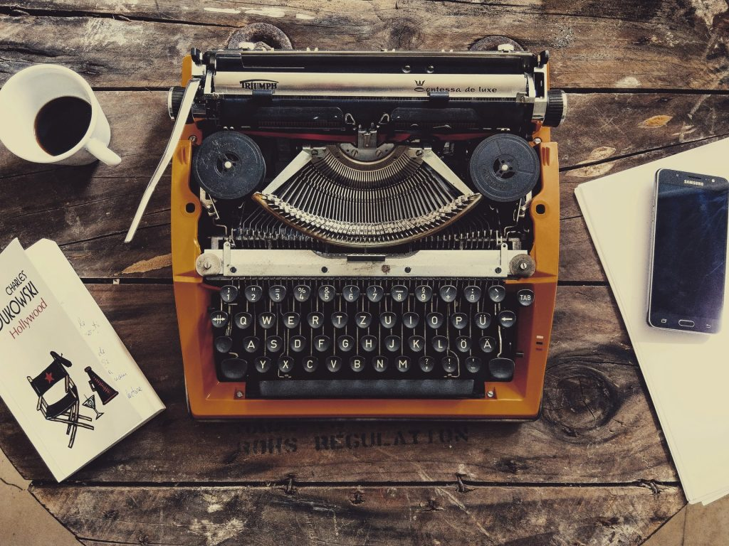 A typewriter, an old-fashioned way of being able to write a book